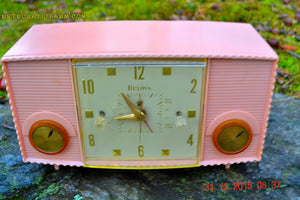 SOLD! - Mar 5, 2016 - PINK MARTINI Vintage Mid Century Retro Jetsons 1959 Bulova Model 170 Tube AM Clock Radio WORKS! , Vintage Radio - Bulova, Retro Radio Farm  - 2