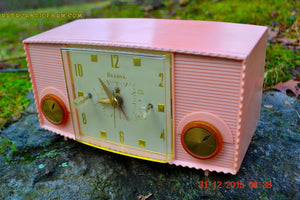SOLD! - Mar 5, 2016 - PINK MARTINI Vintage Mid Century Retro Jetsons 1959 Bulova Model 170 Tube AM Clock Radio WORKS! , Vintage Radio - Bulova, Retro Radio Farm  - 1