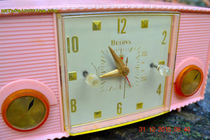 SOLD! - Mar 5, 2016 - PINK MARTINI Vintage Mid Century Retro Jetsons 1959 Bulova Model 170 Tube AM Clock Radio WORKS! , Vintage Radio - Bulova, Retro Radio Farm  - 7