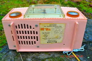 SOLD! - Mar 5, 2016 - PINK MARTINI Vintage Mid Century Retro Jetsons 1959 Bulova Model 170 Tube AM Clock Radio WORKS! , Vintage Radio - Bulova, Retro Radio Farm  - 8