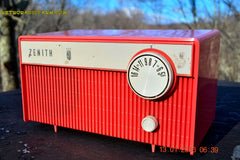 SOLD! - Feb 14, 2016 - BLUETOOTH MP3 READY -  Salmon Pink Retro Mid Century Deco Vintage 1959 Zenith F580 AM Tube Radio Sounds Great! , Vintage Radio - Zenith, Retro Radio Farm  - 1