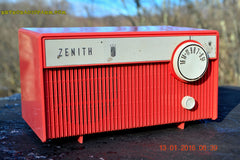 SOLD! - Feb 14, 2016 - BLUETOOTH MP3 READY -  Salmon Pink Retro Mid Century Deco Vintage 1959 Zenith F580 AM Tube Radio Sounds Great! , Vintage Radio - Zenith, Retro Radio Farm  - 2