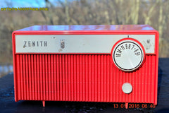 SOLD! - Feb 14, 2016 - BLUETOOTH MP3 READY -  Salmon Pink Retro Mid Century Deco Vintage 1959 Zenith F580 AM Tube Radio Sounds Great! , Vintage Radio - Zenith, Retro Radio Farm  - 4