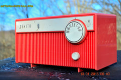 SOLD! - Feb 14, 2016 - BLUETOOTH MP3 READY -  Salmon Pink Retro Mid Century Deco Vintage 1959 Zenith F580 AM Tube Radio Sounds Great! , Vintage Radio - Zenith, Retro Radio Farm  - 3
