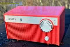 SOLD! - Feb 14, 2016 - BLUETOOTH MP3 READY -  Salmon Pink Retro Mid Century Deco Vintage 1959 Zenith F580 AM Tube Radio Sounds Great! , Vintage Radio - Zenith, Retro Radio Farm  - 5