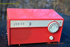 SOLD! - Feb 14, 2016 - BLUETOOTH MP3 READY -  Salmon Pink Retro Mid Century Deco Vintage 1959 Zenith F580 AM Tube Radio Sounds Great! , Vintage Radio - Zenith, Retro Radio Farm  - 6