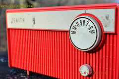 SOLD! - Feb 14, 2016 - BLUETOOTH MP3 READY -  Salmon Pink Retro Mid Century Deco Vintage 1959 Zenith F580 AM Tube Radio Sounds Great! , Vintage Radio - Zenith, Retro Radio Farm  - 8