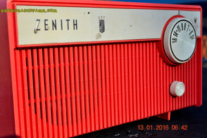 SOLD! - Feb 14, 2016 - BLUETOOTH MP3 READY -  Salmon Pink Retro Mid Century Deco Vintage 1959 Zenith F580 AM Tube Radio Sounds Great! - [product_type} - Zenith - Retro Radio Farm