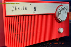 SOLD! - Feb 14, 2016 - BLUETOOTH MP3 READY -  Salmon Pink Retro Mid Century Deco Vintage 1959 Zenith F580 AM Tube Radio Sounds Great! , Vintage Radio - Zenith, Retro Radio Farm  - 7
