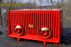 Motorola 56R Bright Red 1957 AM Tube Radio Mid Century Vintage Rare! Works Great! , Vintage Radio - Motorola, Retro Radio Farm  - 5