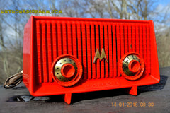 Motorola 56R Bright Red 1957 AM Tube Radio Mid Century Vintage Rare! Works Great! , Vintage Radio - Motorola, Retro Radio Farm  - 7