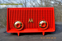 Motorola 56R Bright Red 1957 AM Tube Radio Mid Century Vintage Rare! Works Great! , Vintage Radio - Motorola, Retro Radio Farm  - 4