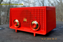 Load image into Gallery viewer, SOLD! - June 19, 2017 - Motorola 56R Bright Red 1957 AM Tube Radio Mid Century Vintage Rare! Works Great! - [product_type} - Motorola - Retro Radio Farm