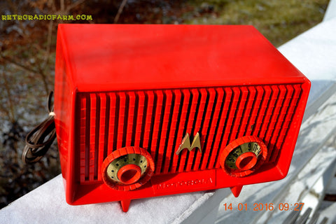 SOLD! - June 19, 2017 - Motorola 56R Bright Red 1957 AM Tube Radio Mid Century Vintage Rare! Works Great!