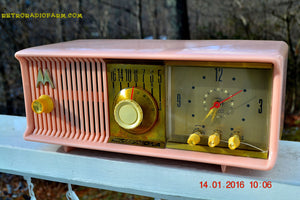 SOLD! - Mar 3, 2016 - MARILYN PINK Retro Jetsons 1957 Motorola 57CC Tube AM Clock Radio Totally Restored! - [product_type} - Motorola - Retro Radio Farm