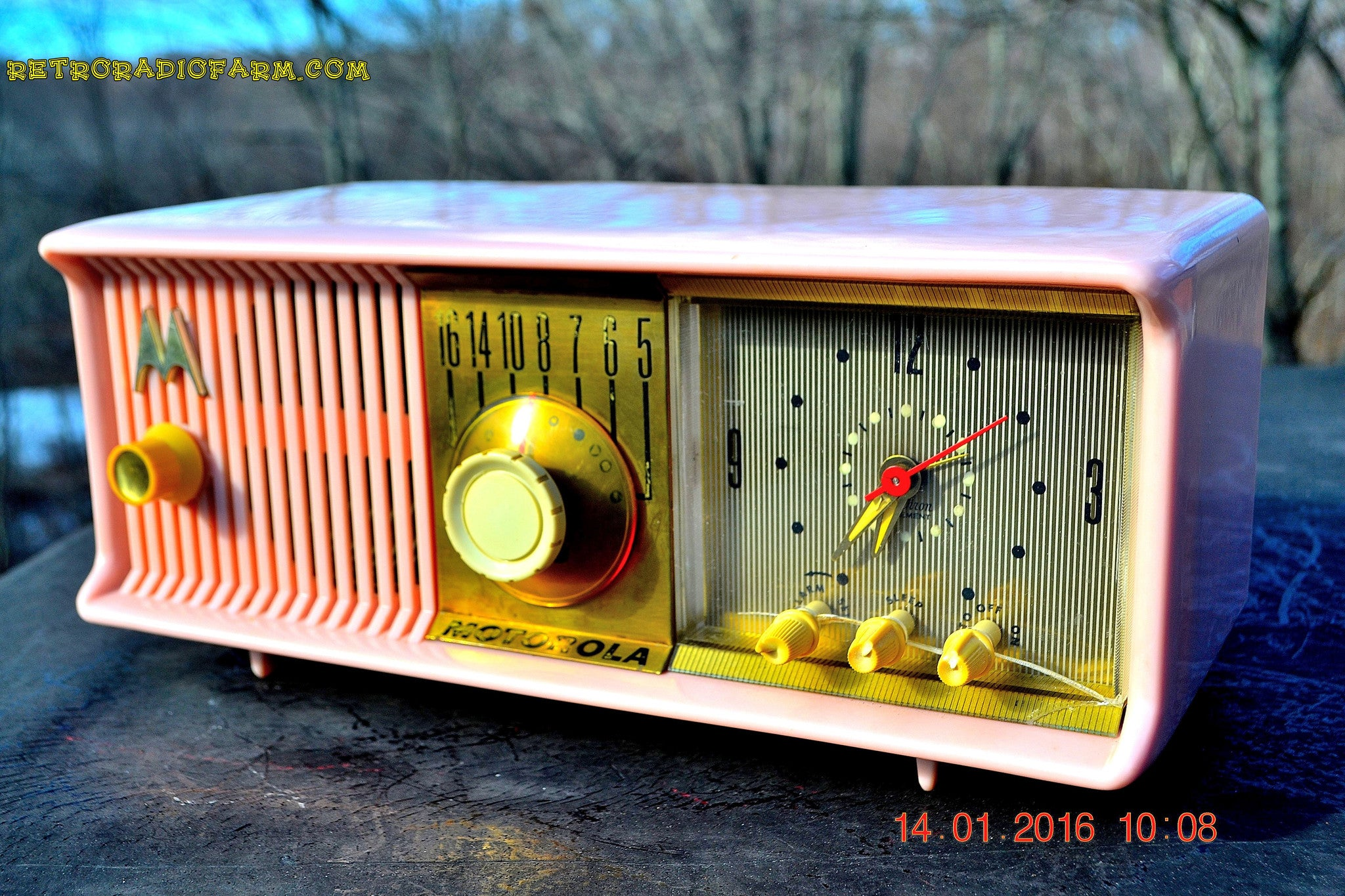 SOLD! - Mar 3, 2016 - MARILYN PINK Retro Jetsons 1957 Motorola 57CC Tube AM Clock Radio Totally Restored! , Vintage Radio - Motorola, Retro Radio Farm  - 1