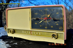 SOLD! - May 3, 2016 - BEAUTIFUL Powder Pink And White Retro Jetsons 1958 RCA Victor 9-C-71 Tube AM Clock Radio Works Great! , Vintage Radio - Vintage Radio, Retro Radio Farm  - 5