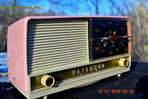 SOLD! - May 3, 2016 - BEAUTIFUL Powder Pink And White Retro Jetsons 1958 RCA Victor 9-C-71 Tube AM Clock Radio Works Great! - [product_type} - Vintage Radio - Retro Radio Farm