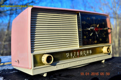 SOLD! - May 3, 2016 - BEAUTIFUL Powder Pink And White Retro Jetsons 1958 RCA Victor 9-C-71 Tube AM Clock Radio Works Great! , Vintage Radio - Vintage Radio, Retro Radio Farm  - 4