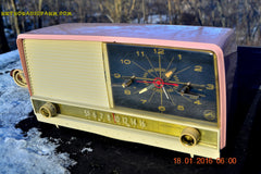 SOLD! - May 3, 2016 - BEAUTIFUL Powder Pink And White Retro Jetsons 1958 RCA Victor 9-C-71 Tube AM Clock Radio Works Great! , Vintage Radio - Vintage Radio, Retro Radio Farm  - 2