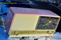 SOLD! - May 3, 2016 - BEAUTIFUL Powder Pink And White Retro Jetsons 1958 RCA Victor 9-C-71 Tube AM Clock Radio Works Great! , Vintage Radio - Vintage Radio, Retro Radio Farm  - 3