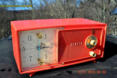 SOLD! - Apr 15, 2016 - BLUETOOTH MP3 Ready - Salmon Pink Mid Century Jetsons 1959 Zenith Model E514A Tube AM Clock Radio Works Great! , Vintage Radio - General Electric, Retro Radio Farm  - 4