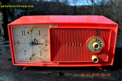 SOLD! - Apr 15, 2016 - BLUETOOTH MP3 Ready - Salmon Pink Mid Century Jetsons 1959 Zenith Model E514A Tube AM Clock Radio Works Great! , Vintage Radio - General Electric, Retro Radio Farm  - 3