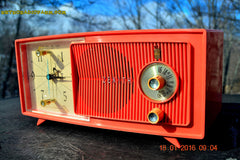 SOLD! - Apr 15, 2016 - BLUETOOTH MP3 Ready - Salmon Pink Mid Century Jetsons 1959 Zenith Model E514A Tube AM Clock Radio Works Great! , Vintage Radio - General Electric, Retro Radio Farm  - 2
