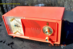 SOLD! - Apr 15, 2016 - BLUETOOTH MP3 Ready - Salmon Pink Mid Century Jetsons 1959 Zenith Model E514A Tube AM Clock Radio Works Great! , Vintage Radio - General Electric, Retro Radio Farm  - 7