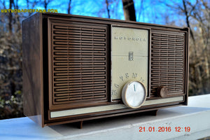 SOLD! - Feb 6, 2017 - TAN Mid Century Retro Jetsons Vintage 1965 Motorola AC80BN AM Tube Radio Works! - [product_type} - Motorola - Retro Radio Farm