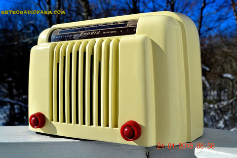 SOLD - Feb 2, 2016 - BLUETOOTH MP3 READY - Smart Looking 1947 Ivory Bendix Aviation Model 526A Bakelite AM Tube AM Radio Totally Restored!