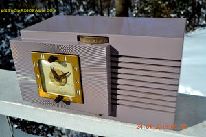 SOLD! - Feb 20, 2016 - BLUETOOTH MP3 Ready - Lavender Taupe Mid Century Vintage 1948 Telechron Model 8H67 Tube AM Clock Radio Works Great! - [product_type} - General Electric - Retro Radio Farm