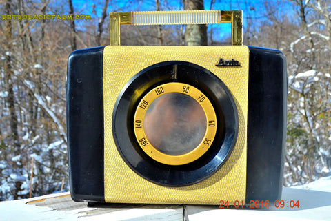 SOLD! - May 23, 2017 - SNAKESKIN Haute Couture Vintage Antique Mid Century 1952 Arvin Model 654P Portable Tube AM Radio Restored and Very Rare!