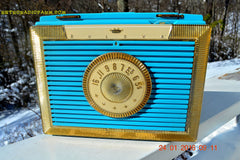 CLEOPATRA Teal and Gold Vintage Antique Mid Century 1955 Bulova Companion Model 206 Portable Tube AM Radio Bling! Bling! , Vintage Radio - Bulova, Retro Radio Farm  - 5