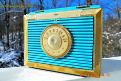 CLEOPATRA Teal and Gold Vintage Antique Mid Century 1955 Bulova Companion Model 206 Portable Tube AM Radio Bling! Bling! , Vintage Radio - Bulova, Retro Radio Farm  - 3