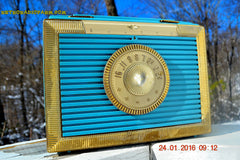 CLEOPATRA Teal and Gold Vintage Antique Mid Century 1955 Bulova Companion Model 206 Portable Tube AM Radio Bling! Bling! , Vintage Radio - Bulova, Retro Radio Farm  - 4