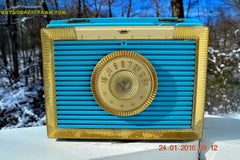 CLEOPATRA Teal and Gold Vintage Antique Mid Century 1955 Bulova Companion Model 206 Portable Tube AM Radio Bling! Bling! , Vintage Radio - Bulova, Retro Radio Farm  - 2