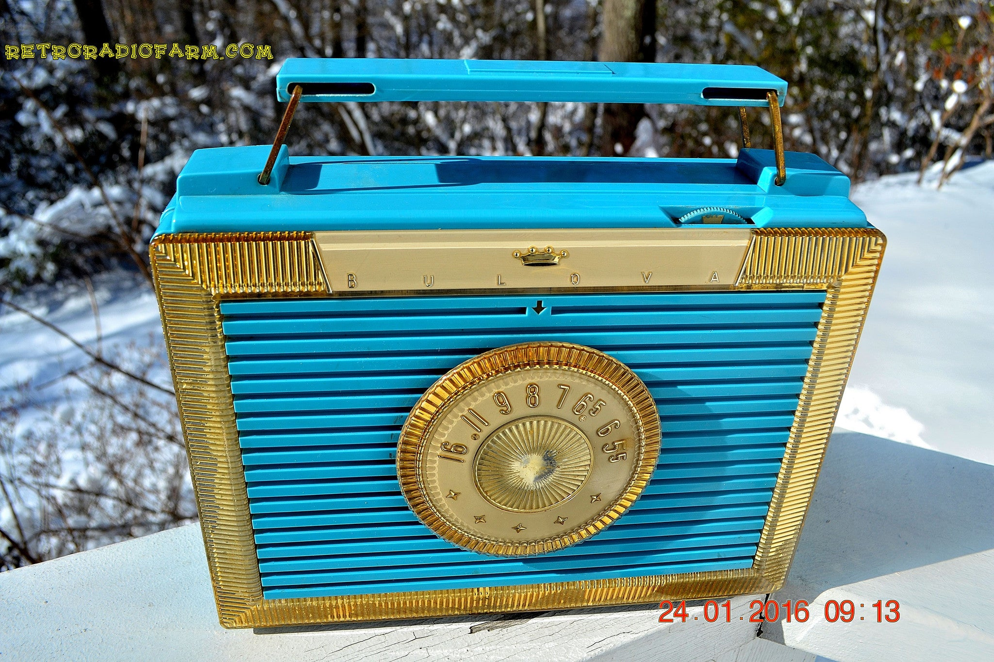 SOLD! - Dec 9, 2017 - CLEOPATRA Teal and Gold Vintage Antique Mid Century 1955 Bulova Companion Model 206 Portable Tube AM Radio Bling! Bling! - [product_type} - Bulova - Retro Radio Farm