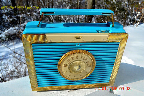 SOLD! - Dec 9, 2017 - CLEOPATRA Teal and Gold Vintage Antique Mid Century 1955 Bulova Companion Model 206 Portable Tube AM Radio Bling! Bling!