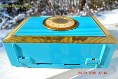 CLEOPATRA Teal and Gold Vintage Antique Mid Century 1955 Bulova Companion Model 206 Portable Tube AM Radio Bling! Bling! , Vintage Radio - Bulova, Retro Radio Farm  - 8