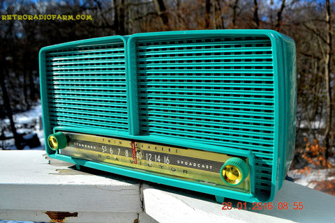 SOLD! - Feb 7, 2016 - BLUETOOTH MP3 READY - Turquoise Retro Mid Century Vintage 1957 RCA Victor Model  8-X-8L AM Tube Radio Sounds Great!