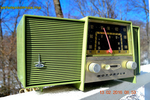 SOLD! - Feb 13, 2016 - OLIVE GREEN Mid Century Retro Vintage 1963 Motorola Model B2-1GQ2942 AM/FM Tube Radio Works Great! - [product_type} - Motorola - Retro Radio Farm