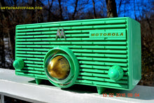 Load image into Gallery viewer, SOLD! - Aug 7, 2016 - HOLY GRAIL Turbine in SEA GREEN Mid Century Retro Jetsons 1957 Motorola 56H Tube AM Radio Works Amazing! - [product_type} - Motorola - Retro Radio Farm