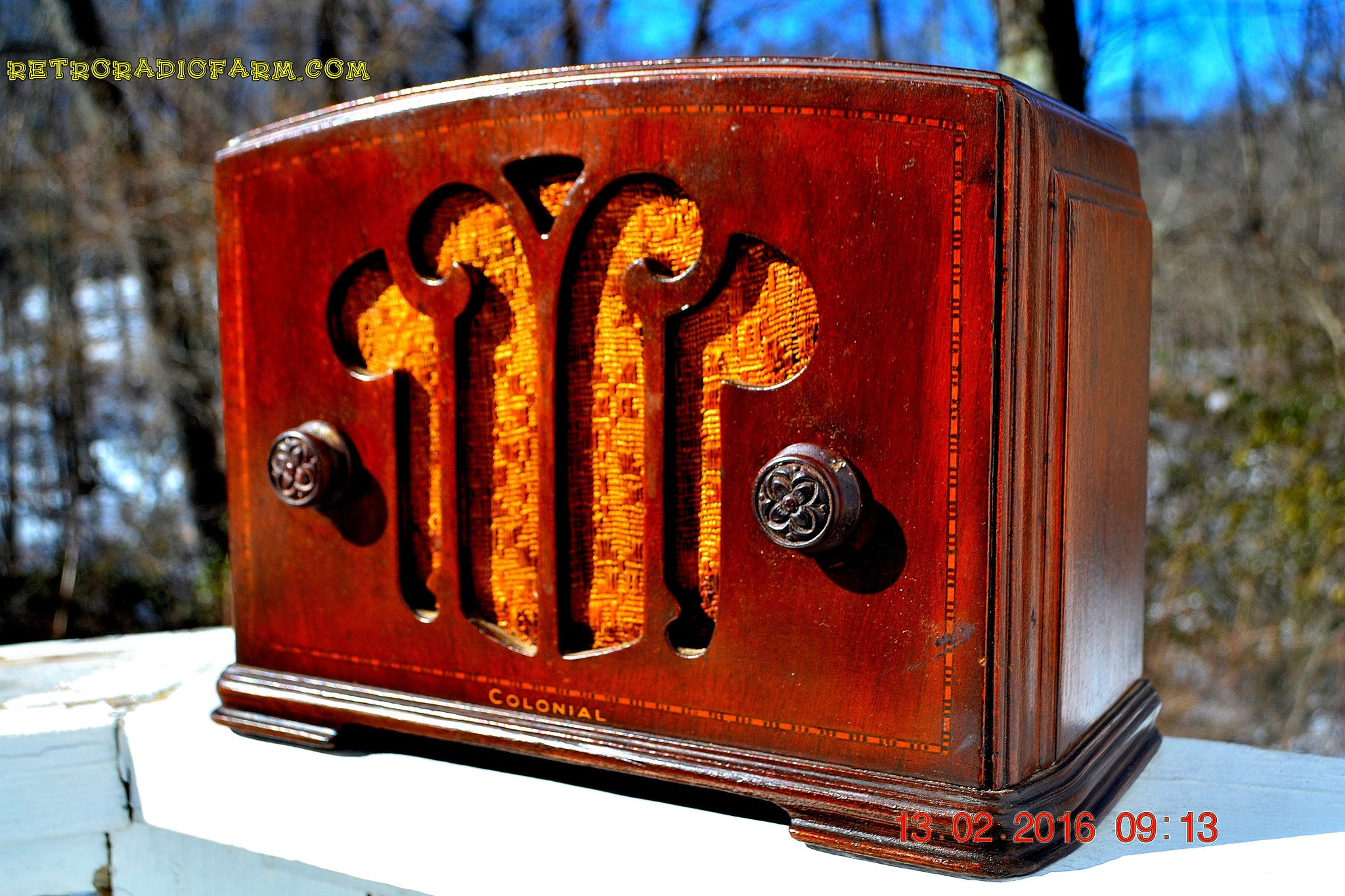 SOLD! - Apr 15, 2016 - BLUETOOTH MP3 READY - Mini Tombstone Wood Art Nouveau Retro 1935 Colonial AM Tube Radio Totally Restored! Wow! - [product_type} - Colonial - Retro Radio Farm