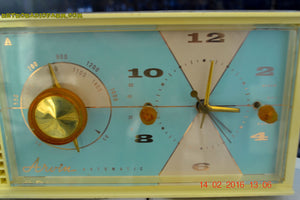 SOLD! - Feb 17, 2016 - BABY BLUE Vintage Antique Mid Century 1961 Arvin Model 5594 Tube AM Clock Radio Restored and Very Rare and Near Mint!! - [product_type} - Arvin - Retro Radio Farm