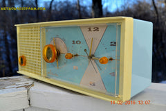 SOLD! - Feb 17, 2016 - BABY BLUE Vintage Antique Mid Century 1961 Arvin Model 5594 Tube AM Clock Radio Restored and Very Rare and Near Mint!! , Vintage Radio - Arvin, Retro Radio Farm  - 5