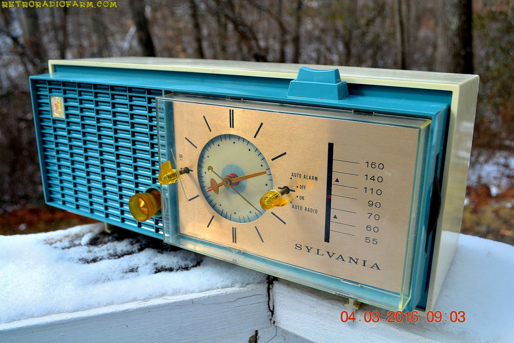 SOLD! - Apr 14, 2016 - SLATE BLUE Mid Century Retro Jetsons 1964 Sylvania Model AK22 Tube AM Clock Radio Totally Restored! , Vintage Radio - Sylvania, Retro Radio Farm  - 1