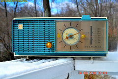SOLD! - Apr 14, 2016 - SLATE BLUE Mid Century Retro Jetsons 1964 Sylvania Model AK22 Tube AM Clock Radio Totally Restored! , Vintage Radio - Sylvania, Retro Radio Farm  - 3