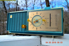 SOLD! - Apr 14, 2016 - SLATE BLUE Mid Century Retro Jetsons 1964 Sylvania Model AK22 Tube AM Clock Radio Totally Restored! , Vintage Radio - Sylvania, Retro Radio Farm  - 6