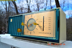 SOLD! - Apr 14, 2016 - SLATE BLUE Mid Century Retro Jetsons 1964 Sylvania Model AK22 Tube AM Clock Radio Totally Restored! , Vintage Radio - Sylvania, Retro Radio Farm  - 4